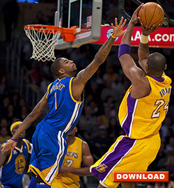 Kobe Bryant - ready to swing basketball up and back