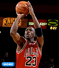 Michael Jordan about to shoot basketball