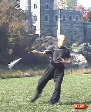 Ken Van Sickle doing the Tai Chi Sword Form showing tassle